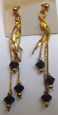 boucle d'oreille percées bijou vintage plaqué or perles noires à facettes  3312