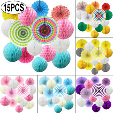 15Mix PAPER HONEYCOMB BALLS PARTY FANS FLOWER Xmas Tissue Pompom Wedding Hanging