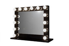 Grand Hollywood Lighted Vanity Mirror w/ LED Bulbs & Double Outlet