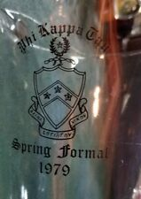 Large Heavy Clear Glass Water Beer Pitcher - 1979 Phi Kappa Tau Spring Formal