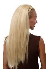 Halbperücke Haarteil edel mit geflochtenem Haarreif sehr lang glatt platinblond