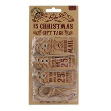Reindeer Mail Vintage Style 15 Merry Christmas Kraft Brown Gift Tags