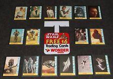 Star Wars Kenner 1977 1978 Wonder Bread x16 Cards Set Display Shelf Tab