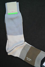 Paul Smith Mens Mid Length Italian Socks Cotton Cashmere Block F876 Greys Brown