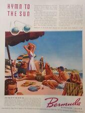 1939 Bermuda Island Hymn to Sun Swimsuits Beach Sunglasses Original Color Ad