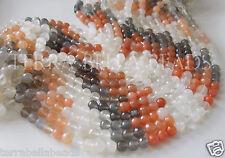 "9"" MULTI COLOR MOONSTONE faceted gem stone round beads 5mm - 5.5mm grey orange"