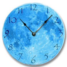 BLUE MOON Pattern Wall CLOCK - Astrology, Space, Celestial Home Decor - 7133_FT