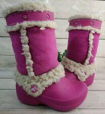 Crocs Nadia Girls Size 8-9 Fur Lined Snow Rain Winter Pink Boots