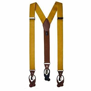 Men's Solid Fabric Suspenders Braces Convertible Leather Ends and Clips Y Gold