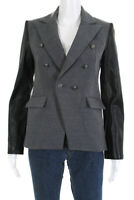 Generation Love Womens Double Breasted Long Sleeve Blazer Gray Black Size S