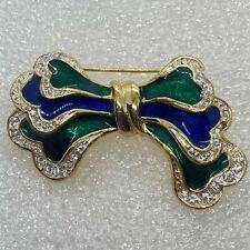 Vintage BOW BROOCH Pin Green Blue Enamel Rhinestone Gold Tone Costume Jewelry