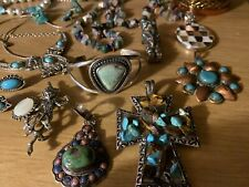 Vintage sterling silver and Silver Tone & turquoise jewelry lot