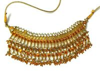 Necklace Vintage Moroccan Morocco Beaded Rhinestone Gold-tone Collar 25""