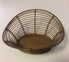 Small Gold Colored Metal Basket Home Decor / Kitchen - Made In India - Nice