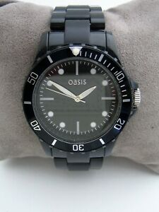 OASIS WATCH WOMENS B876 ICE WATCH BLACK BRACELET BNWT
