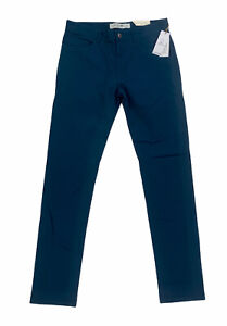 NEW Lacoste Flat Front Slim Fit Stretch Pants Chinos Trousers Blue Mens Sz 32x34