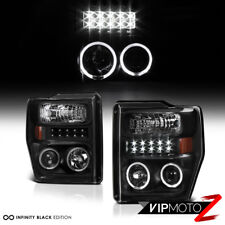 2008-10 Ford Super Duty Pick Up *LED* Black Halo Projector Headlights Lamps