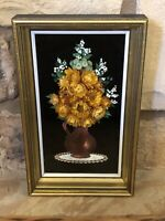 Vintage Dried Flower Shadow Box Cideart Velvet Hand Painted Wall Hanging Framed