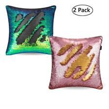 2xMagic Reversible Mermaid Sequin Cushion Glitter Cover Throw Pillow Cases Decor