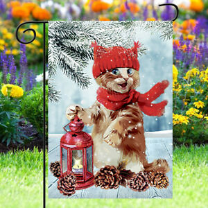 Christmas Garden Flag Winter Lantern Red Scarf Cat Double Sided Yard    QZ