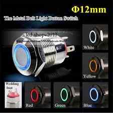 5-Colors Car Appliances 12mm 12V Angel Eye Aluminum Metal LED Power Push Button