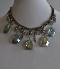 Necklace In Brass Tone Kirks Folly Crystal Drop