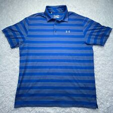 Under Armour Polo Shirt Adult XL Golf Striped Blue White Lightweight Loose D4