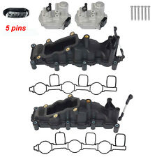 2x Intake Manifold +2x Flap Actuators 5pins For Audi A4 A6 Q7 Touareg 2.7 3.0TDI