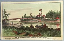 SPORT ISLAND St. Lawrence PACKERS Alexandria Bay NY TRADE CARD Antique