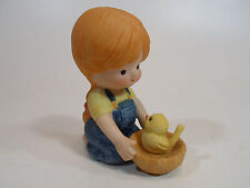 Country Cousins Figurines Enesco Vintage Porcelain Girl with bird nest