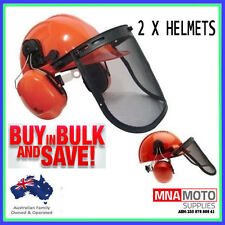 2 X NEW CHAINSAW SAFETY HELMET COMES WITH VISOR & EAR MUFFS
