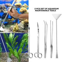 5pcs Aquarium Plant Maintenance Tools Kit Straight Curved Tweezers Scissors Set
