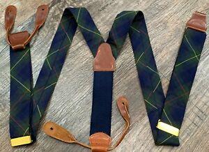 BROOKS BROTHERS Suspenders Braces, TARTAN Plaid, COTTON, Flaw