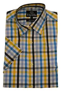 Viyella Cotton Short Sleeve bold  yellow check shirt small