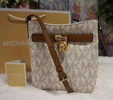 NWT Michael Kors HAMILTON TRAVELER Crossbody Bag VANILLA/LUGGAGE PVC Leather$188
