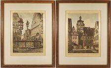 Two Rothenburg ob der Tauber Weisser Trum & St. George Original Etchings Signed
