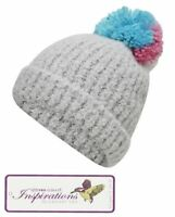 Womens Pro Climate Inspirations Brushed Ribbed Turn Up Supersize Pom Beanie Hat