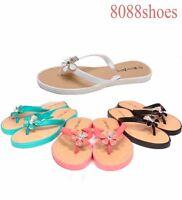 Women's Cute Jelly Thong Flower Bow Flat Sandal Flip Flops Shoes  Size 6 -11 NEW