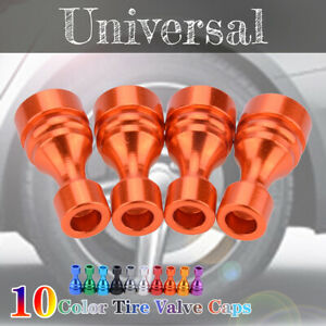 4PCS Universal Car Tire Tyre Orange Wheel Air Port Dust Cover Valve Stem Cap