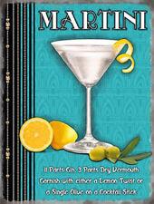 Martini Cocktail Recipe. Classic Bar Drink. Medium Metal Steel Wall Sign
