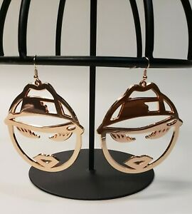 Rose Gold Lowrider Girl Chicana Latina  Hoop Earrings  Rockabilly Chola