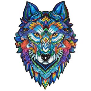 Mysterious Wolf Wooden Animal Puzzle Adults Children Wooden Jigsaw Puzzle Games