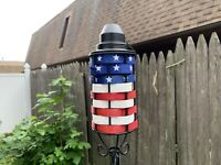 (4) American Flag Patio USA Patriotic Tiki Torch Torches