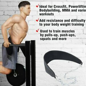 Weight Lifting Belt with Chain Fitness Tool Dip Belt Pull Up Belt for