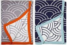 Jonathan Adler Cotton Blanket Throw Orange Or Navy New