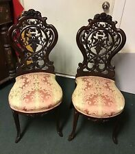 Pair of Victorian Renaissance Parlor Chairs Rococo Revival Style