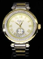 2-Tone Finish Iced Out Bling CZ Bezel Womens Metal Roman Dial Quartz Watch