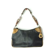 Dooney & Bourke Black Pebbled Leather Brown Hobo Purse Handbag Shoulder-bag