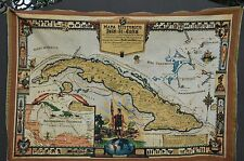 """CUBA Havana Map Mapa Old Historic Tapestry 44""""X30"""" Poster Photo Picture"""