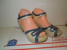 MIZ MOOZ CALYPSO Women's Platform Wedge Beige/Blue Leather Size 9 Adjustable Vel